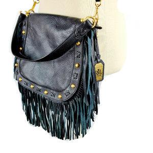 Lauren Ralph Lauren Blk Leather Fringe Handbag